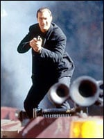 Seagal on top of a train
